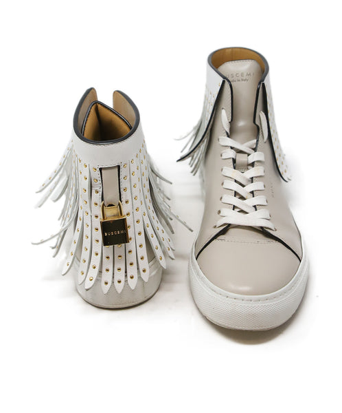 Buscemi Taupe Leather White Fringe Sneakers 3