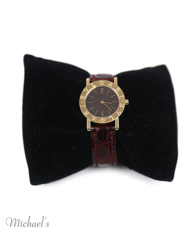 Bvlgari Red Burgundy Crocodile 18 K Gold BB26GL Watch