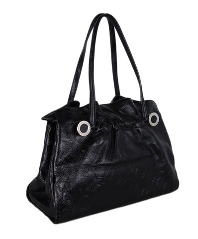 Bvlgari Black Embossed Leather Shoulder Bag 1