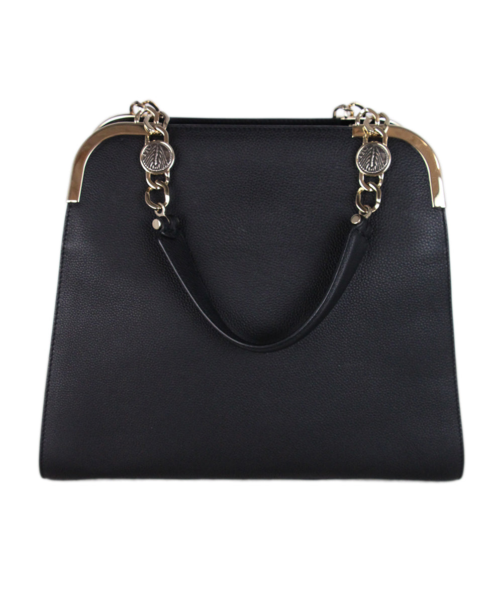 Bvlgari Black Leather Satchel 1
