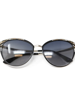 Bvlgari Black with Gold and White Mosaic Detail Sunglasses 1