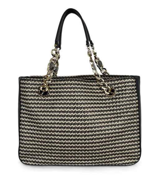 Bvlgari Black Beige Woven Leather Shoulder Bag Handbag 1