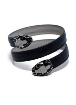 Bvlgari Black Leather Enamel Wrap Around Bracelet | Bvlgari