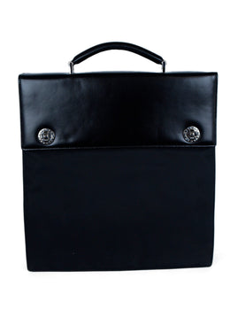 Bvlgari Black Leather Nylon Briefcase Handbag 1