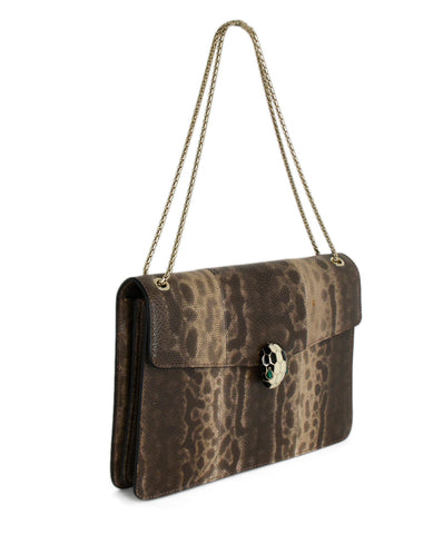 Bvlgari Brown Beige Lizard Shouldere Bag Handbag 1