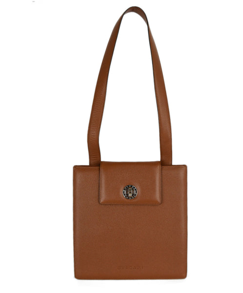 Bvlgari Brown Leather Shoulder Bag Handbag 1