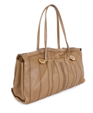 Bvlgari Neutral Tan Leather Ruched Shoulder Handbag 1
