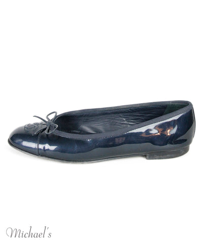 "Chanel Flats US 10 Blue Patent Leather ""as is"" Shoes"