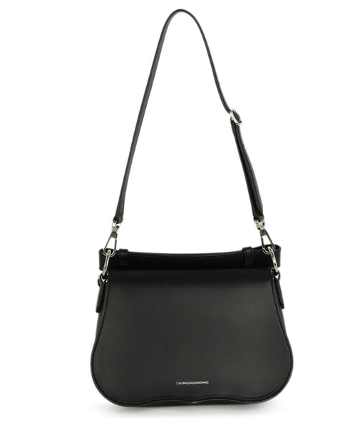 Calvin Klein Black Leather Satchel Handbag 1