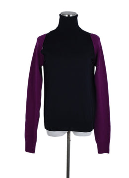 Calvin Klein Blue Navy Wool Fuschia Removable Sleeve Sweater 1