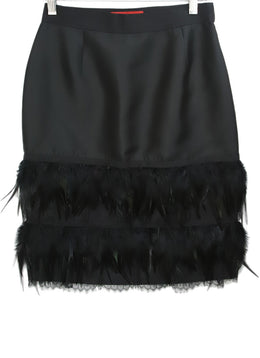 Carolina Herrera Black Skirt with Feather Trim Detail 1