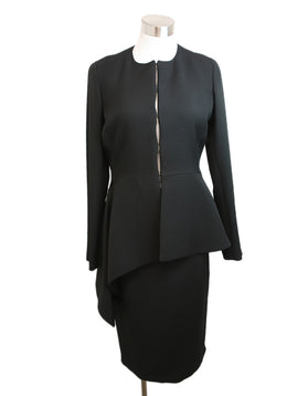 Carolina Herrera Black Triacetate Polyester Skirt Suit 1