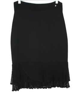 Carolina Herrera Black Viscose Crochette Skirt 1