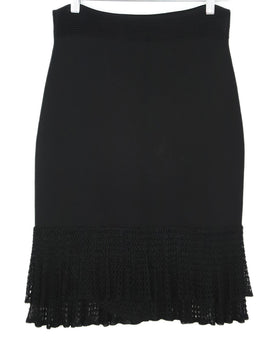Carolina Herrera Black Viscose Crochette Skirt 2