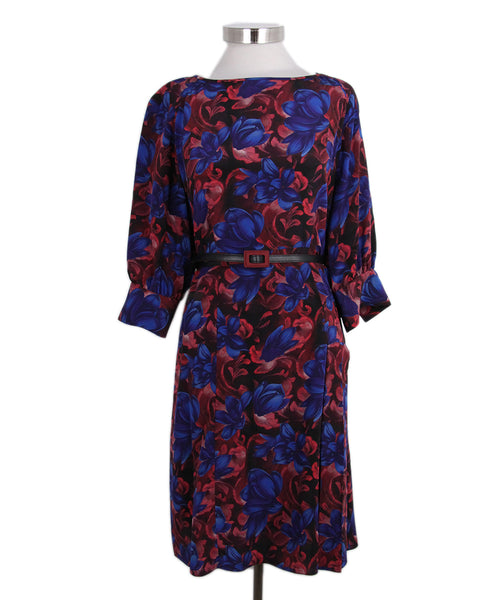 Carolina Herrera Blue Red Floral Silk dress with belt 1