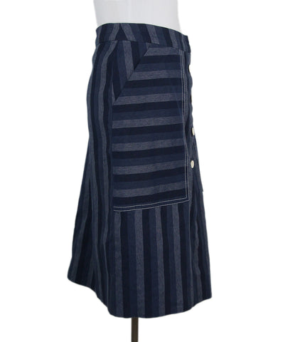 Carolina Herrera Blue striped denim skirt 1