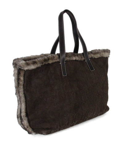 Carolina Herrera Brown Shearling Logo Tote 1