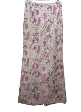 Carolina Herrera Long Purple Skirt with Silver Metallic Wave Pattern 1