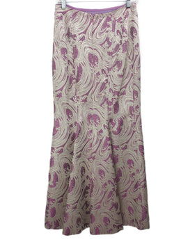Carolina Herrera Long Purple Skirt with Silver Metallic Wave Pattern 2