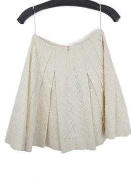 Carolina Herrera Neutral Cream Lace Pattern A line Skirt 2
