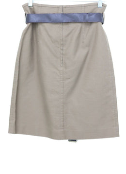 Ch Neutral Tan Cotton Brown Leather Skirt 1