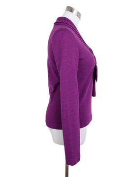 Carolina Herrera Purple Wool Silk Tie Trim Sweater 2