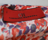 Carolina Herrera Size 6 Red Multi Floral Print Silk Dress 4