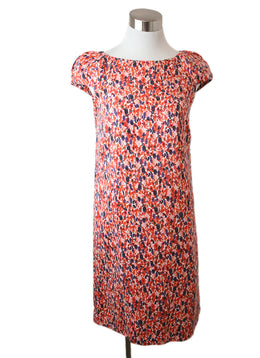 Carolina Herrera Size 6 Red Multi Floral Print Silk Dress 1