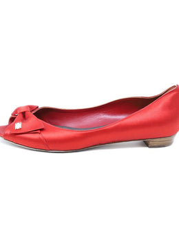 Carolina Herrera Red Satin Peep Toe Flats Sz 37