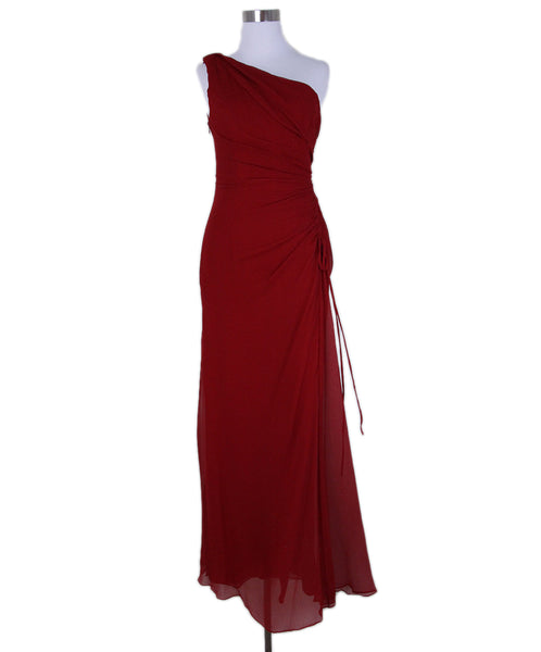 Carolina Herrera Red Silk Evening Dres 1
