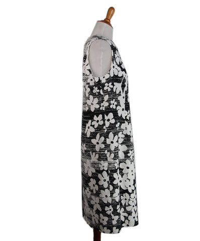 Carolina Herrera White Black Silk Floral Dress 1