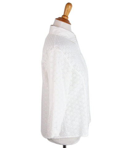 Carolina Herrera White Cotton Eyelet Shirt 1