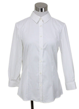 Carolina Herrera White Cotton Longsleeve Blouse sz 6
