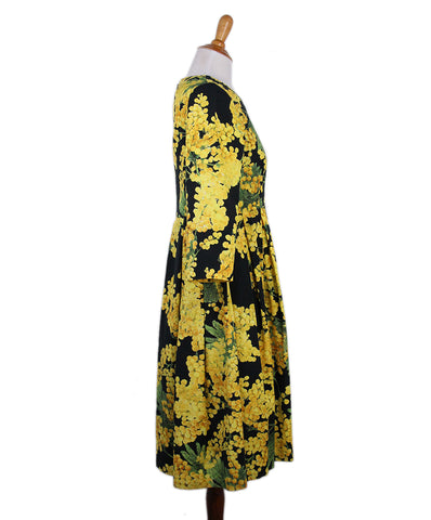 Carolina Herrera Yellow Black Floral Dress 1