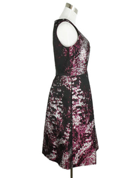 Carolina Herrera Black Silver Violet Polyester Print Dress 2