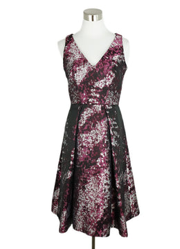 Carolina Herrera Black Silver Violet Polyester Print Dress 1