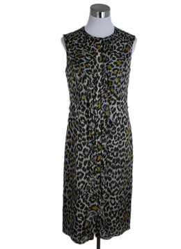 Carolina Herrera Grey Olive Animal Print Silk Dress 1