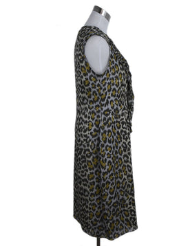 Carolina Herrera Grey Olive Animal Print Silk Dress 2