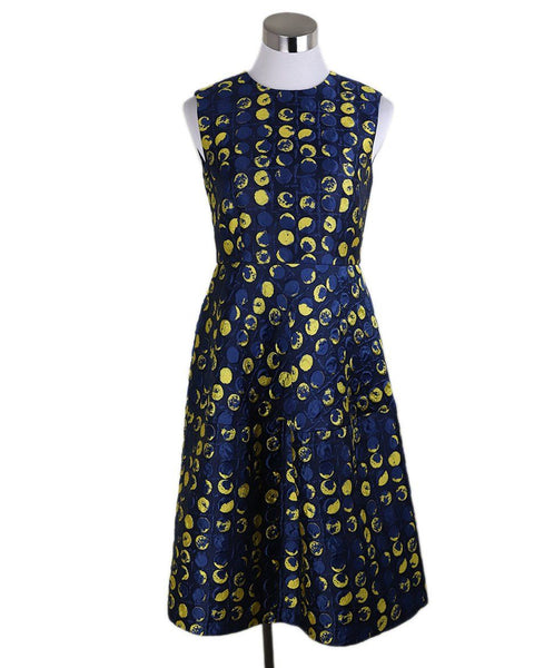 Carolina Herrera Navy Polyester Viscose Yellow Print Dress