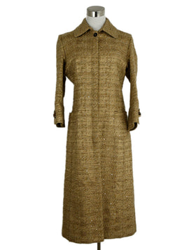 Carolina Herrera Tan Tweed Wool Sequins Coat 1