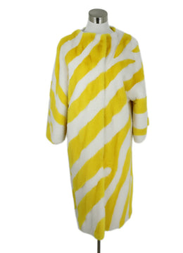 Carolina Herrera Yellow White Stripes Mink Long Coat 1
