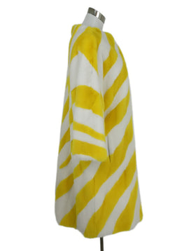 Carolina Herrera Yellow White Stripes Mink Long Coat 2