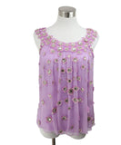 Carolina Herrera Lilac Silk Rhinestone Top 1