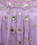Carolina Herrera Lilac Silk Rhinestone Top 4