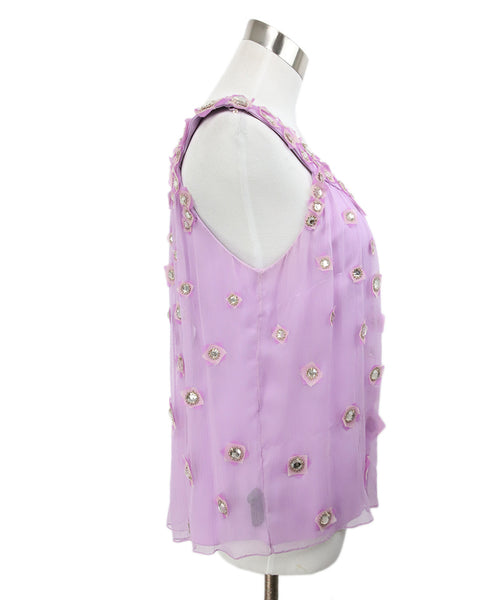 Carolina Herrera Lilac Silk Rhinestone Top 2