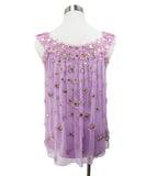 Carolina Herrera Lilac Silk Rhinestone Top 3