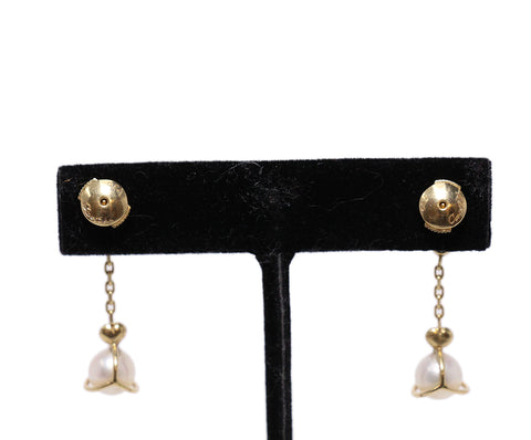 Cartier 18k Gold Pearl Diamond Earrings 1