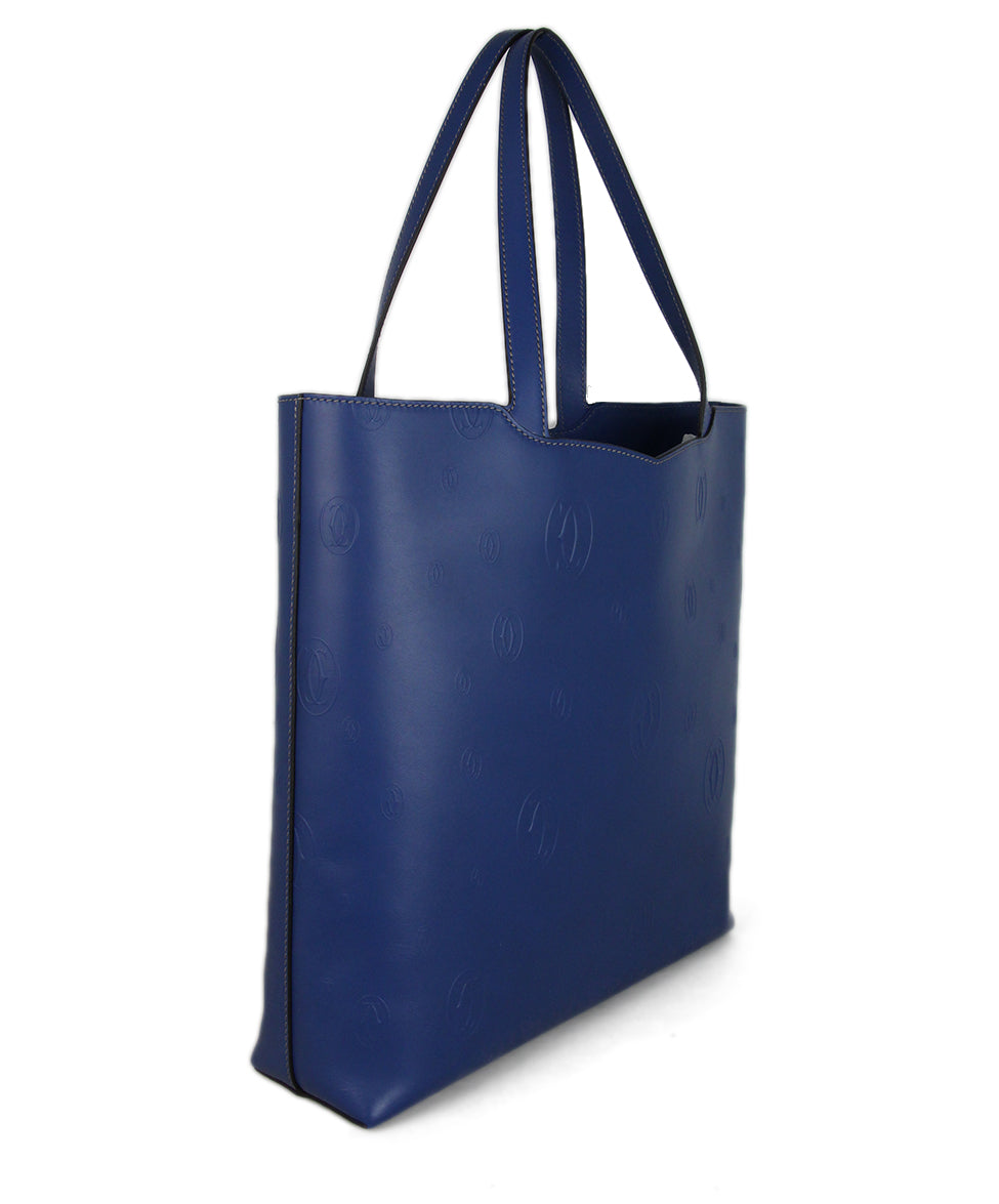 Cartier Blue Leather Tote 2