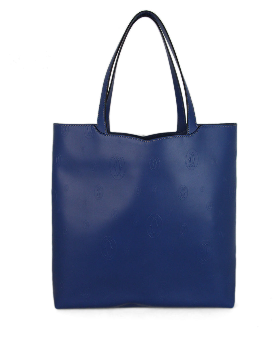 Cartier Blue Leather Tote 3