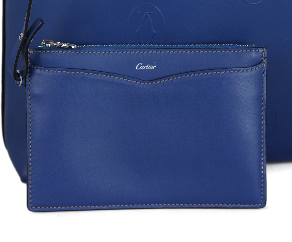 Cartier Blue Leather Tote 7